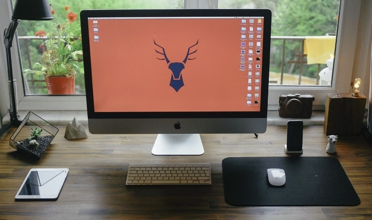 mac-desktop-with-a-deer-wallpaper